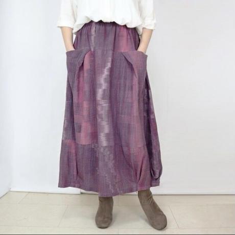 手織り綿絣、桜色が綺麗なバルーンスカート、春夏向け