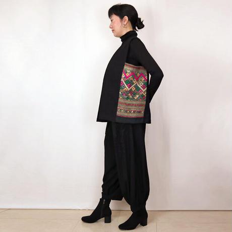 ラオス浮き織り古布の創作ロングベスト一点物