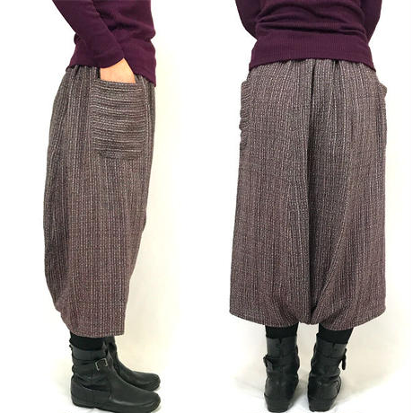 78cm丈、手織りコットン、やわらかしっとりとろみ素材のおとなサルエルパンツ