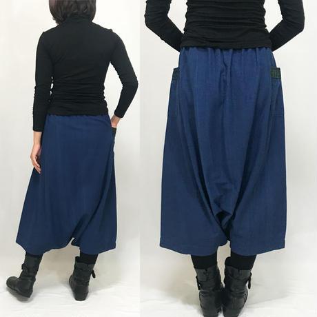 藍染め、手織り綿のロングサルエルパンツ、きもの古布付き、オールシーズン可