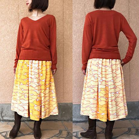 78cm丈、きものリメイクロングスカート、オレンジ、雲