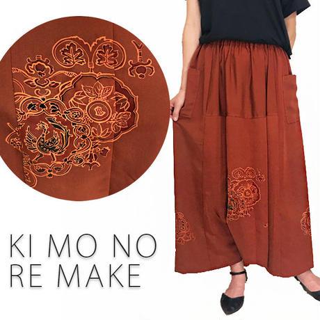 着物リメイク、シルク正絹手描きロングサルエルパンツ、大きいサイズ
