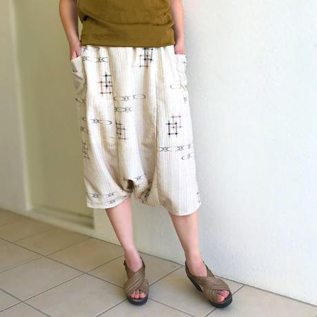 着物リメイク、絣プリントサルエルパンツ、70cm丈