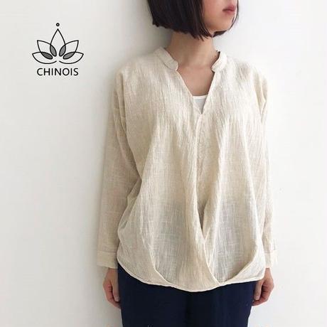 再4!大きいサイズ、体型カバー裾ねじり手織りコットンリネン長袖ブラウス