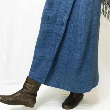 手織り綿厚手ラップスカート、ターコイズブルー、フリーサイズ