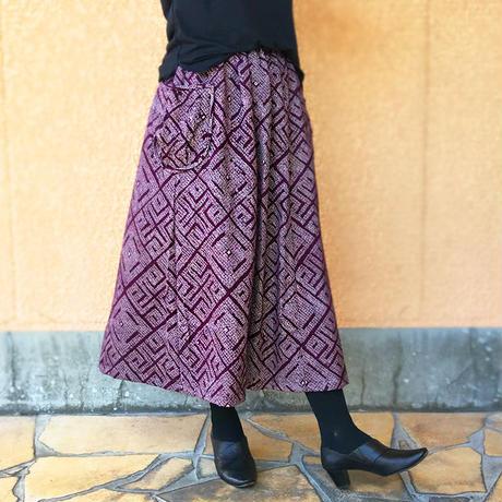 きものリメイクロングスカート、紫総絞り、オールシーズン
