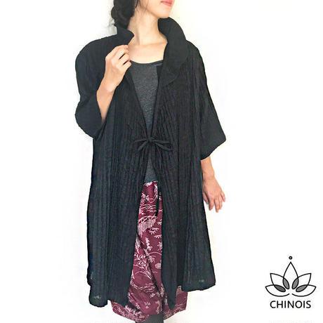 ブラックハーフリネンの七分袖カシュクールコート