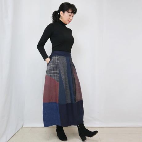 再販☆手織り綿絣、後ろ姿も可愛いパッチワークロングスカート、インディゴ、オールシーズン