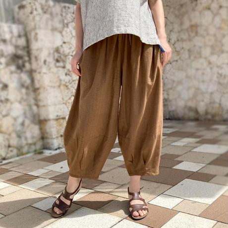 再販!新色!!3サイズ対応、手織りコットンのもんぺパンツ、ブラウン