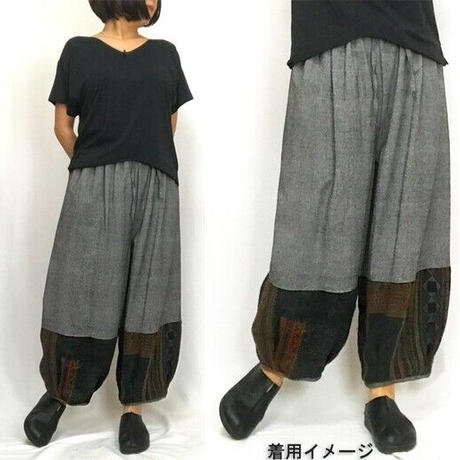 LL~3Lサイズ、ジョムトン手織り綿のもんぺ、モン刺繍付きパンツ、グレー、オールシーズン