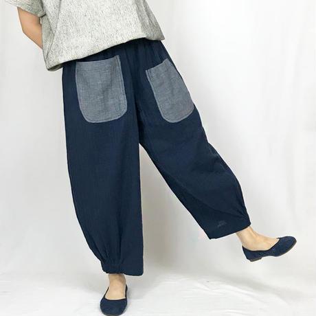 Wガーゼの可愛いリラックスポケットパンツ、インディゴブルー