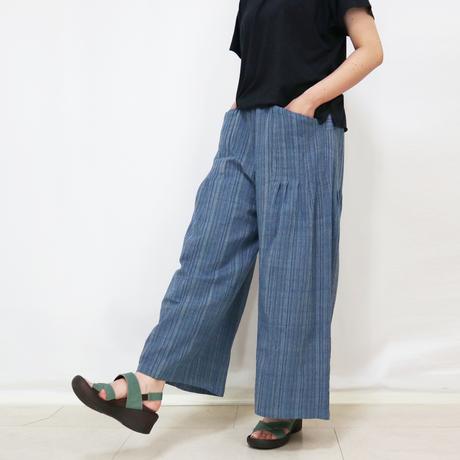 爽やか手織綿の楽々ロングワイドパンツ、ブルーミックス