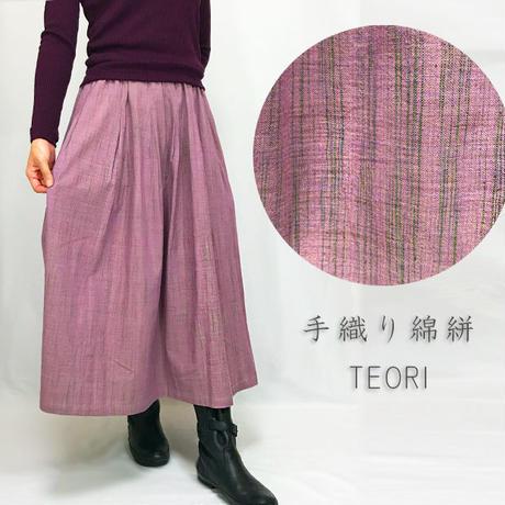 手織り綿絣ロングスカート、桃花色、オールシーズン