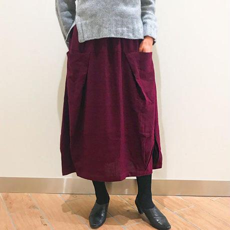 再3☆至福の肌さわり、しっとり最上質ヘンプのバルーンスカート、バーガンディー、オールシーズン