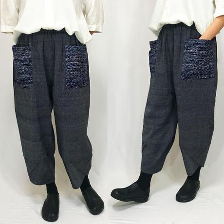 上質手織綿、シルクポケットが綺麗な花びらもんぺパンツ、オールシーズン