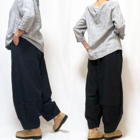 アウトレット☆大きいサイズのジョムトン手織り綿黒無地モンペパンツ