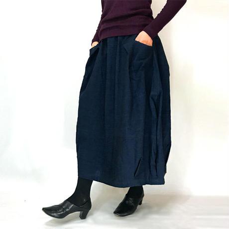 再3☆手織り綿インディゴ染め、バルーンスカート、オールシーズン