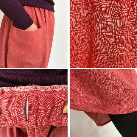 着物リメイク、78cm丈ちりめん鮫小紋の正絹サルエルパンツ