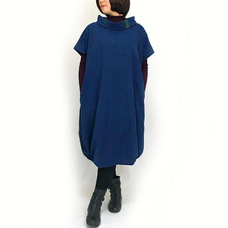 藍染手織綿、大きいサイズの着物古布付きバルーンワンピース