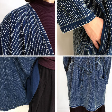 再販!L~3Lサイズ、刺し子のヘンプローブコート、ロングコート、羽織コート