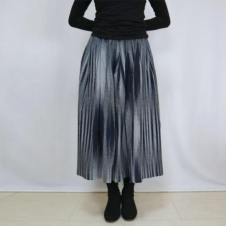 再販☆手織り綿絣ロングスカート、インディゴXグレー柄、オールシーズン