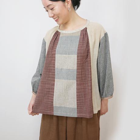 手織り綿パッチワークの涼しい七分袖トップス、ベージュミックス