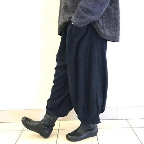 アウトレット☆L~3Lサイズ、至福の肌さわり、しっとり最上質ヘンプのモンペパンツ、ブラック
