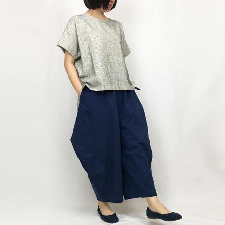 藍染め手織綿の柔らかバルーンパンツ、フリーサイズ