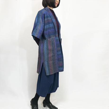 L~3Lサイズ、手織り綿刺し子のローブコート、ハーフコート、羽織コート