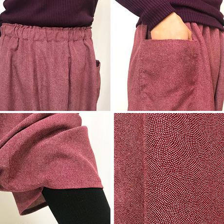 きものリメイク、2着限定、78㎝丈ちりめん鮫小紋の正絹サルエルパンツ