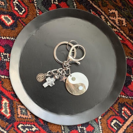 silver tai chi diagram key ring