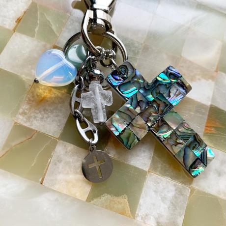 abalone cross key ring