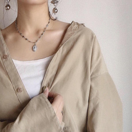 square chain medal necklace