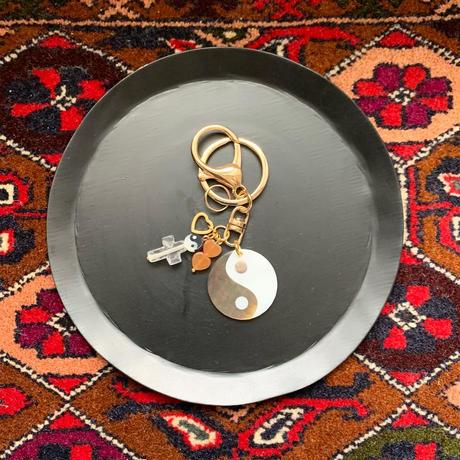 tai chi diagram key ring (オレンジのハートビーズ)