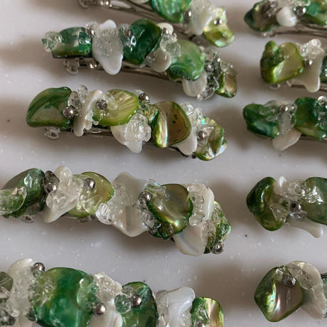 green shell barrette