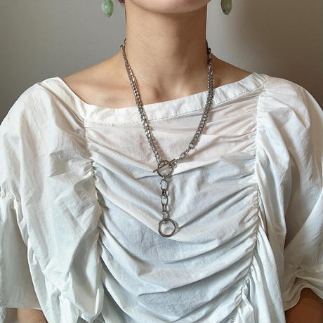 w ring necklace  -silver-