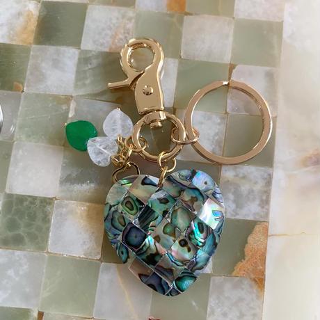 abalone heart key ring