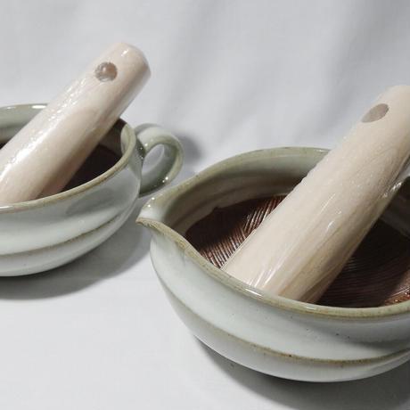 袖師窯 すり鉢 (すりこぎ付) 白