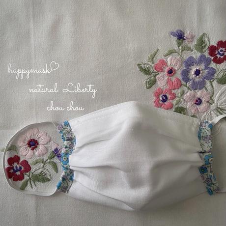 花柄リバティのシンプルマスクஐ⋆*2枚セット〔さくら色&ブルー〕