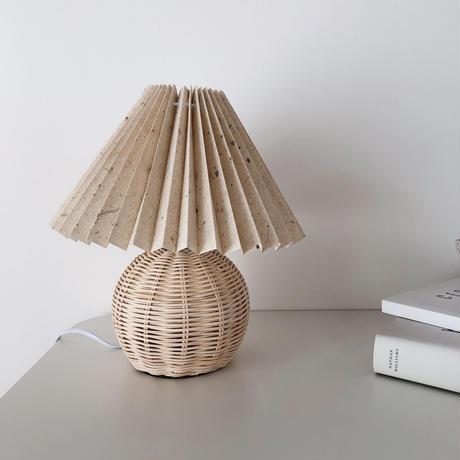 ratan pleats shade lamp(ベージュドッド・即納)