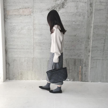 mesh leather tote bag(黒・即納)
