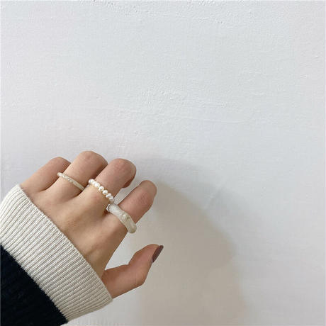 acryl&pearl ring set