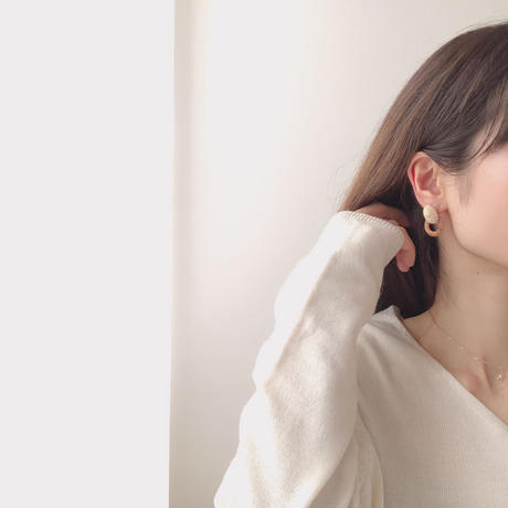 marble layered ring earring