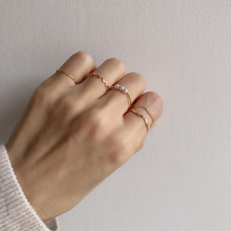gold ring set(pearl)