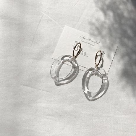 metal&clear W ring earring