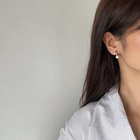 fresh pearl hoop earrings