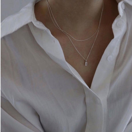 square layered necklace(silver925)