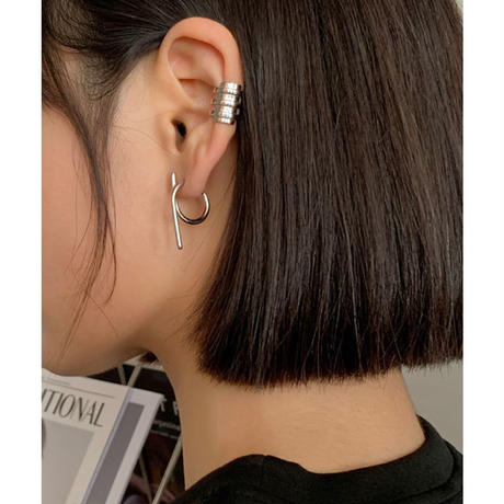 curve straight earrings(silver925)