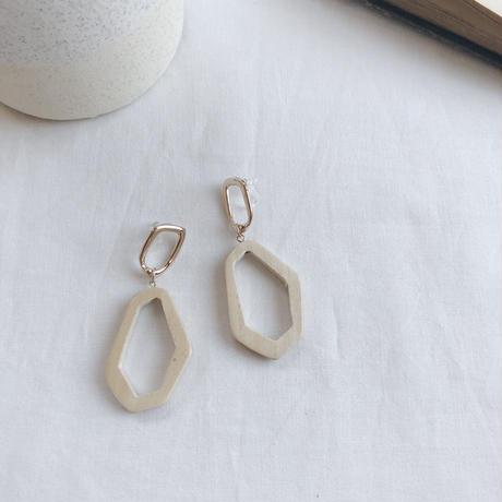 metal&wood swing earring