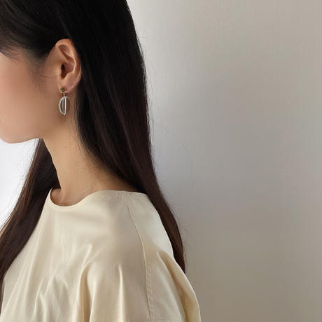 gold square×clear earrings